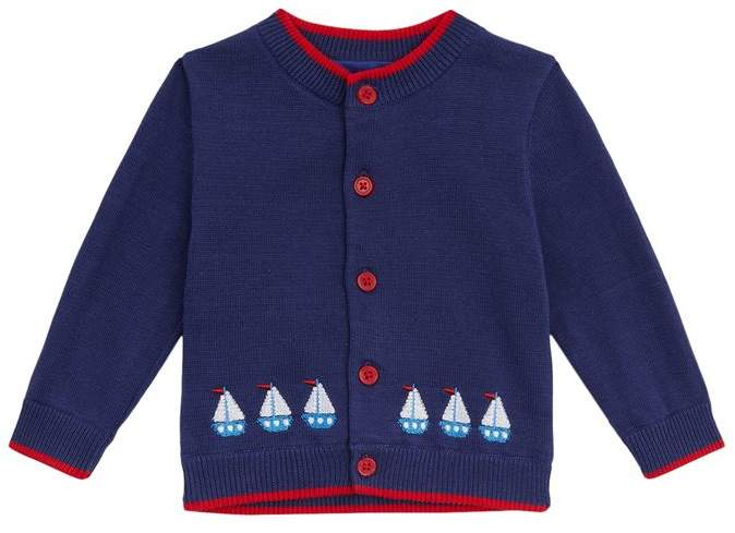 Sailboat Embroidered Cardigan