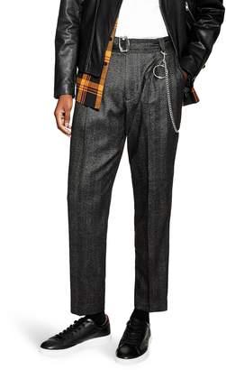 Topman Harrison Herringbone Tapered Trousers