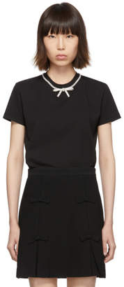 Miu Miu Black Jersey Bow T-Shirt