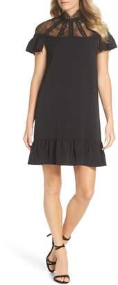 Tahari Flutter Sleeve Lace Yoke Shift Dress