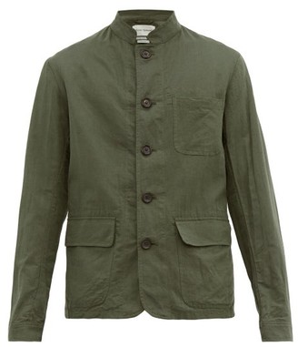 Oliver Spencer Linton Mandarin Collar Linen Coat - Mens - Green