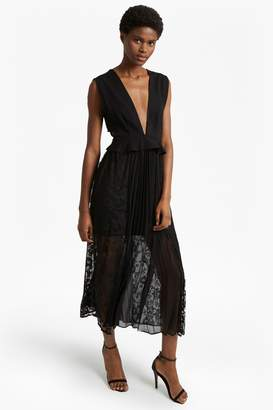 French Connection Angelina Pleated Lace and Jersey Maxi Dress