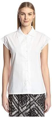 James & Erin Women's Short Sleeve Eyelet Shirt
