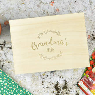 Pink and Turquoise Personalised Wooden Seed Storage Box