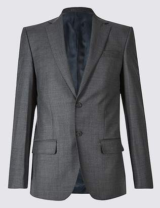 Marks and Spencer Charcoal Textured Regular Fit Wool Jacket