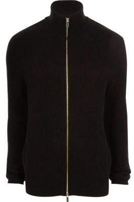 River Island Black rib knit funnel neck zip front cardigan