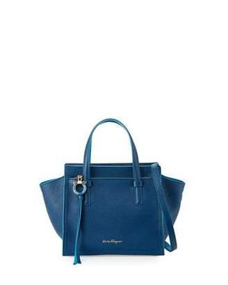 Salvatore Ferragamo Amy Small Leather Tote Bag, Blue $1,250 thestylecure.com