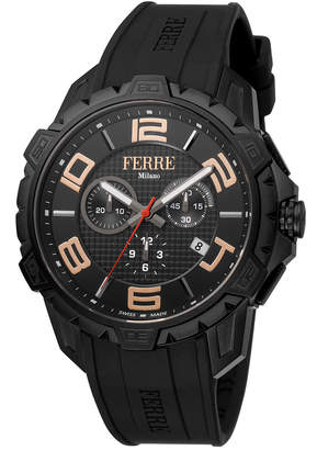 Ferré Milano Men's 45mm Stainless Steel Chronograph Watch with Calfskin Leather Strap Black