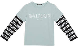 Balmain Kid's Long-Sleeve Institutional Logo Tee, Size 4-8