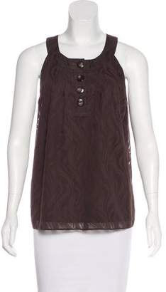 Tibi Semi-Sheer Sleeveless Top