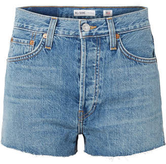 RE/DONE The Short Frayed Denim Shorts - Mid denim