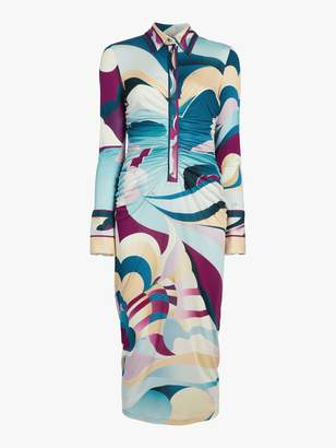 Emilio Pucci Printed Long Sleeve Midi Dress