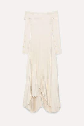 A.W.A.K.E. MODE - Off-the-shoulder Pleated Crepe De Chine Maxi Dress - Cream