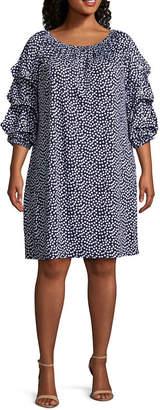 MSK 3/4 Sleeve Beaded Polka Dot Shift Dress - Plus