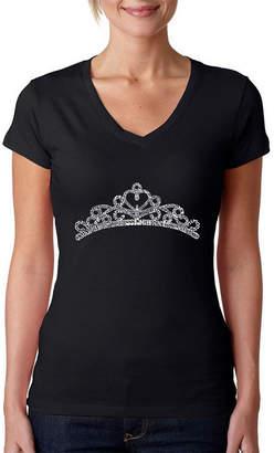 LOS ANGELES POP ART Los Angeles Pop Art Women's V-Neck T-Shirt - Princess Tiara