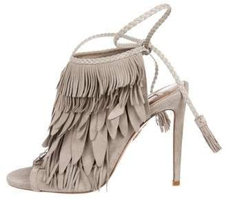 Aquazzura Suede Fringe-Trimmed Sandals