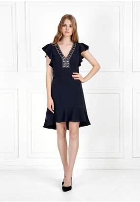 Rachel Zoe Dena Embroidered Stretch Crepe Mini Dress