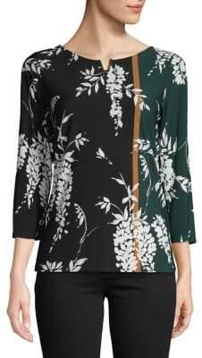 Calvin Klein Floral-Print High-Low Blouse