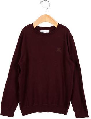 Burberry Boys' Nova Check-Accented Crew Neck Sweater $55 thestylecure.com