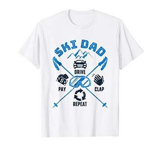 Mens Skiing Dad T-Shirt Funny Drive Pay Clap Repeat Quote Gifts