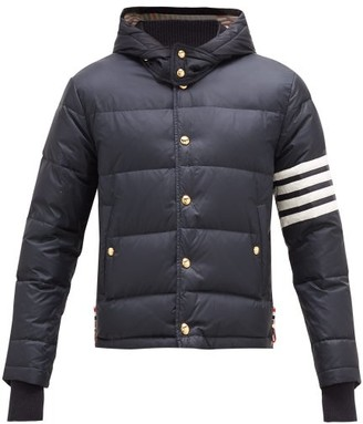 Thom Browne 4 Bar Hooded Quilted Down Coat - Mens - Navy