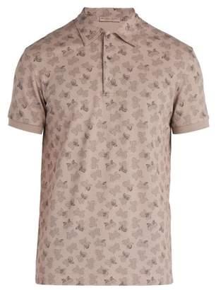 Bottega Veneta Butterfly Print Cotton Pique Polo Shirt - Mens - Light Grey