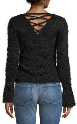 Romeo & Juliet Couture Bell-Sleeve Fuzzy Sweater