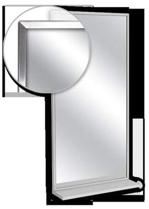 AJW U7168B-2436 Channel Frame Mirror & Mounted Shelf, No. 8 Stainless Steel Surface - 24 W X 36 H In.