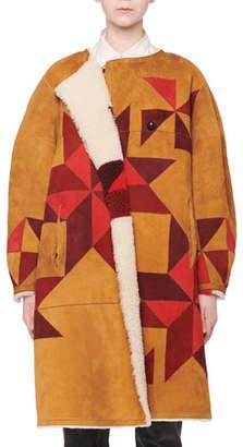 Isabel Marant Nordic-Intarsia Reversible Lamb Shearling Fur Coat