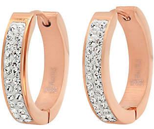 Steel by Design Stainless Steel Crystal-Lined Hoop Earrings
