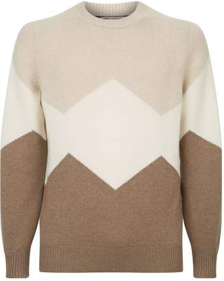 Brunello Cucinelli Colour Block Zig Zag Sweater