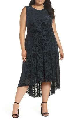 Vince Camuto Burnout Velvet High/Low Midi Dress