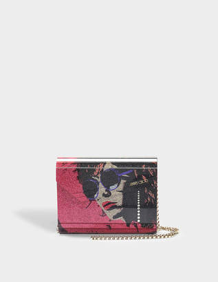 Free Returns At Monnier Freres Jimmy Choo Candy Glitter Clutch Bag In Cerise Mix Printed Fine Acrylic