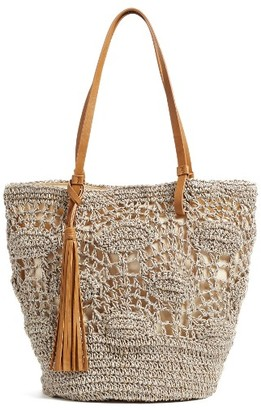 Nordstrom Crochet Straw Tote - Grey $69 thestylecure.com