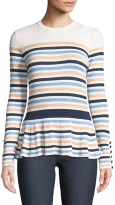 Lela Rose Striped Knit Peplum Top