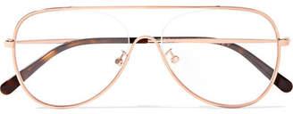 Stella McCartney Aviator-style Rose Gold-tone Optical Glasses