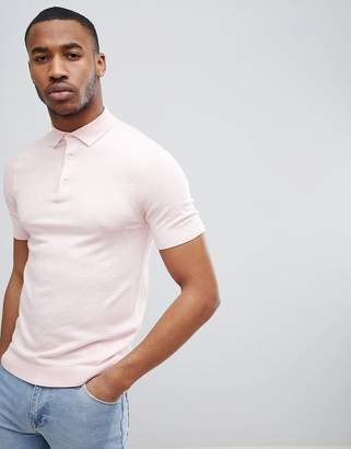 New Look Muscle Fit Polo Shirt In Pink