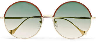 Loewe Sharon Round-frame Gold-tone And Leather Sunglasses - Brown