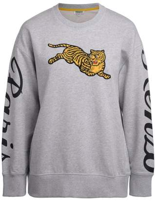 Kenzo Jumping Tiger Grey Sweatshirt With Maxi Patch
