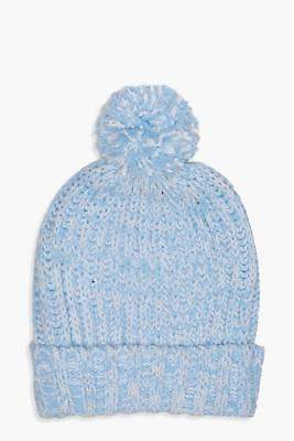 boohoo Womens Hollie Chenille Bobble Hat in Blue size One Size