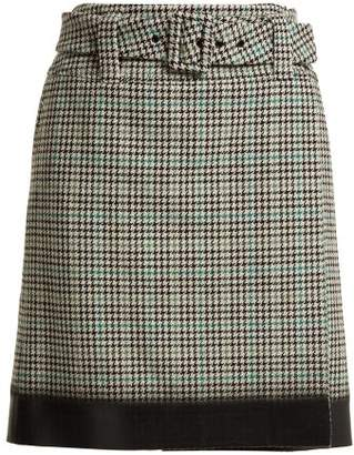 Prada Houndstooth Wool Blend Tweed Midi Skirt - Womens - Green Multi