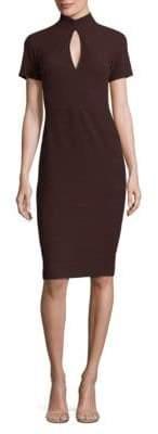 Shoshanna High-Neck Keyhole Dress