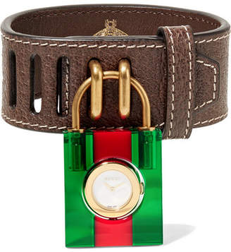 Gucci Textured-leather, Plexiglas, Mother-of-pearl And Gold-plated Watch - Brown