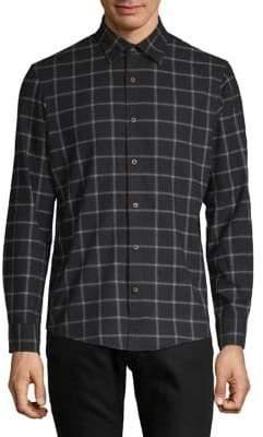 Black Brown 1826 Long-Sleeve Windowpane Button-Down Shirt