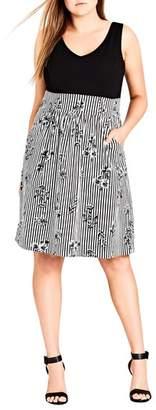 City Chic Stripe Floral A-Line Dress