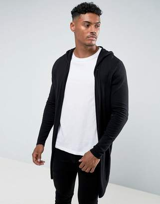 Asos DESIGN hooded open front cardigan with curved hem in black