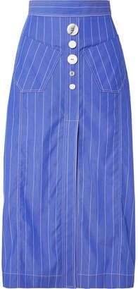 Ellery Aggie Embellished Pinstriped Cotton-poplin Midi Skirt - Blue
