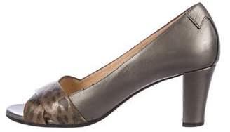 Taryn Rose Leather Peep-Toe Pumps