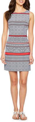 R & K Originals Sleeveless Pattern Sheath Dress