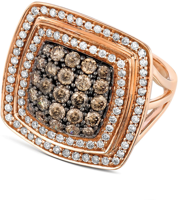 Le Vian Chocolate and White Diamond Square Ring (1-5/8 ct. t.w.) in 14k Rose Gold